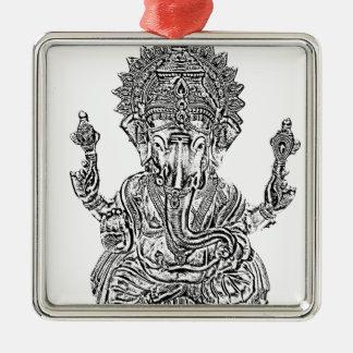 Lord Ganesh Quadratisches Silberfarbenes Ornament