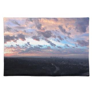 Los Angeles-Sonnenaufgang weg von Mulholland Dr. Tischset