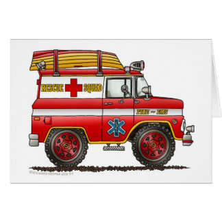 Löschfahrzeug EMS-Rettungs-Vans Ambulance Grußkarte