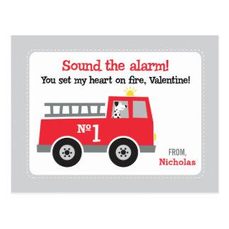 Löschfahrzeug-Klassen-Valentinsgrüße Postkarte
