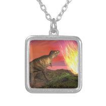 Löschung der Dinosaurier - 3D übertragen Halskette Mit Quadratischem Anhänger