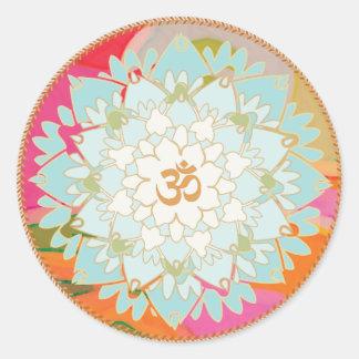 Lotos-Blumen-und OM-Symbolmandala-Aufkleber Runder Aufkleber