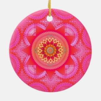 Lotus-Blüten-Rosa-Mandala ID130 Rundes Keramik Ornament