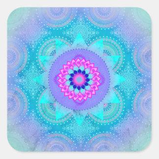 Lotus-Blüten-Türkis-Mandala Quadratischer Aufkleber