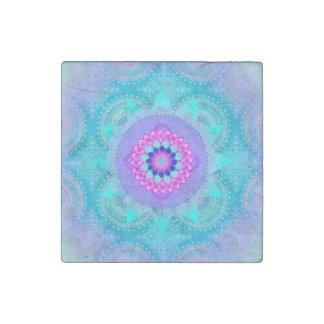 Lotus-Blüten-Türkis-Mandala Stein-Magnet