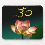 Lotus rose en pleine floraison avec l'OM, mousepad Tapis De Souris
