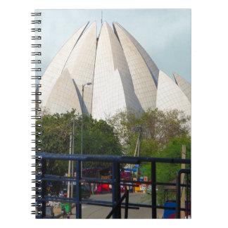 Lotus-Tempel-Neu-Delhi Indien Bahá'í Haus-Anbetung Spiral Notizblock