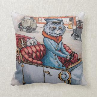 Louis Wain - Katzen-Fahrer mit Kätzchen Kissen