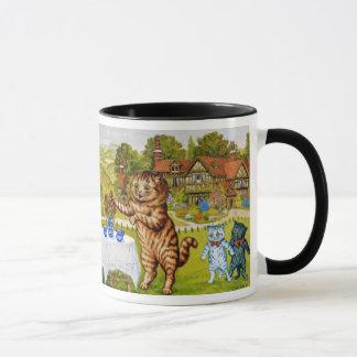 Louis Wain zwei Krüge der Milch-Kaffee-Tasse Tasse