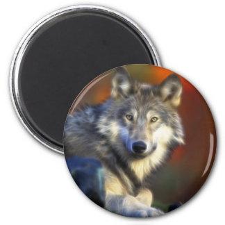 Loup gris, photo numérique d'espèce menacée magnet rond 8 cm