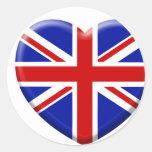 love drapeau Angleterre Autocollants Ronds