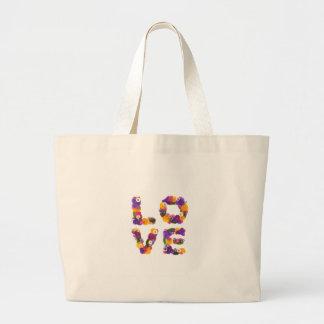 Love Flowers - Flower Typography Sac En Toile Jumbo