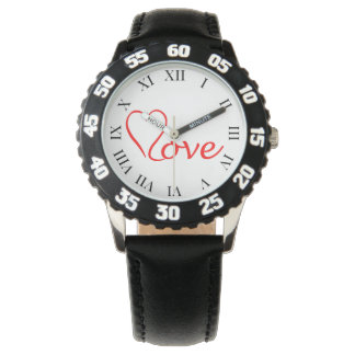 Love Herz auf weißem Hintergrund Uhr