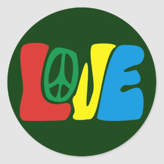 Love Peace Hippie Runder Aufkleber