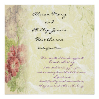 Love Story personnalisé floral Posters