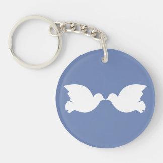 Lovebirds/Kreis (doppelseitiges) Keychain Schlüsselanhänger