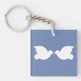 Lovebirds/Quadrat (doppelseitiges) Keychain Schlüsselanhänger