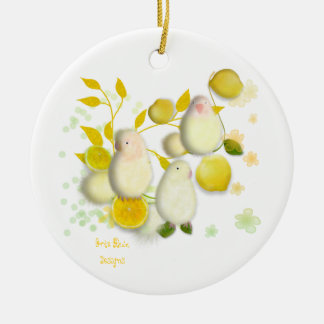 Lovebirds with lemons Christmas Ornaments Keramik Ornament