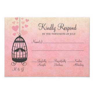 Lovebirdsbirdcage-Hochzeit UAWG Karte 8,9 X 12,7 Cm Einladungskarte