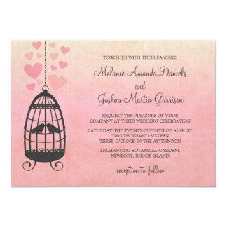 Lovebirdsbirdcage-Hochzeits-Einladung 12,7 X 17,8 Cm Einladungskarte