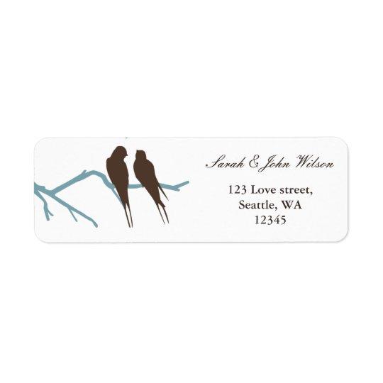 Lovebirdsmokkahochzeit, Rücksendeadresseaufkleber