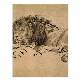 Löwe, der durch Rembrandt stillsteht Postkarte