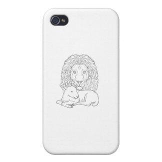 Löwe, der über dem Schlafenlamm-Zeichnen aufpasst iPhone 4 Cover