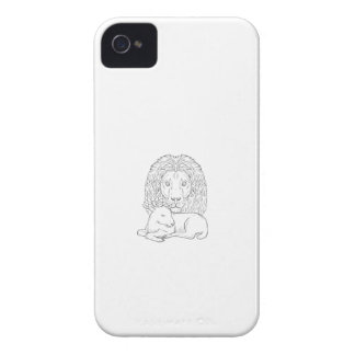 Löwe, der über dem Schlafenlamm-Zeichnen aufpasst iPhone 4 Hülle