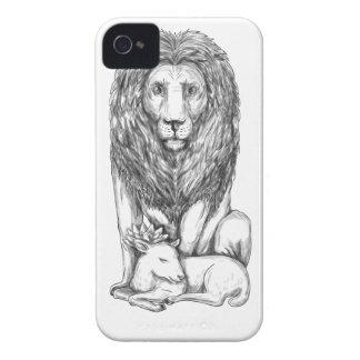 Löwe, der über Lamm-Tätowierung aufpasst Case-Mate iPhone 4 Hülle