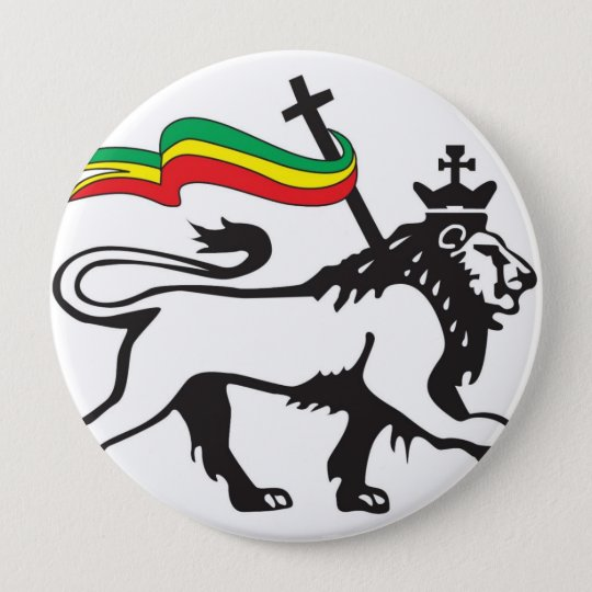 Löwe des Stammes Judah Knopfes (weiß) Runder Button 10,2 Cm
