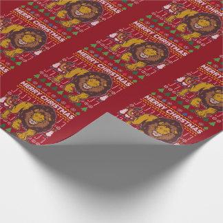 Löwe-frohe Weihnacht-hässliche Strickjacke-Art Geschenkpapier