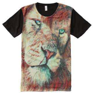 Löwe-Gesichts-surreale Kunst T-Shirt Mit Bedruckbarer Vorderseite