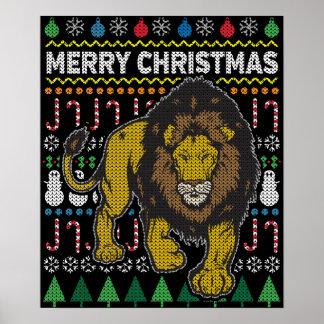 Löwe-hässliche Weihnachtsstrickjacke-Tier-Reihe Poster