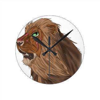 Löwe im Wind Runde Wanduhr
