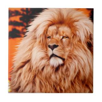 Löwe-orange afrikanische Himmel-Foto-Farbe Fliese