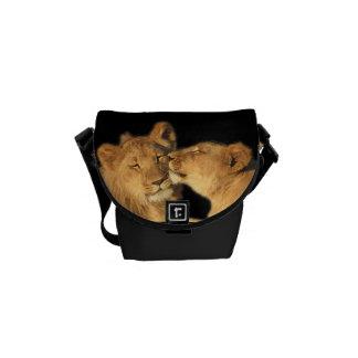 Löwe-Paar-Minibote-Tasche (oder kleiner Kurier Tasche