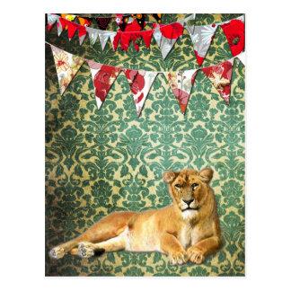 Löwe-Party-Postkarte Postkarte