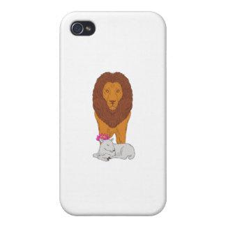 Löwe stehend über dem Lamm-Lotos-Blumen-Zeichnen iPhone 4 Hülle