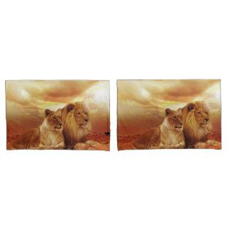Löwe und Löwin Kissenbezug