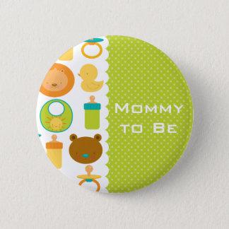 Löwe-und Teddybär-Babyparty-Knopf Runder Button 5,7 Cm