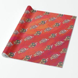 Löwe-Weihnachten auf Rot Geschenkpapier