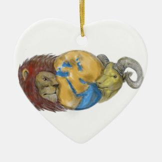 Löwe-Ziegen-Kopf-Mittlere Osten-Kugel-Tätowierung Keramik Ornament