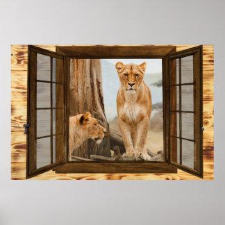 Löwefenster Poster
