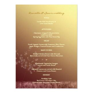 Löwenzahn-Hochzeits-Menü des Fall-Goldn Brown 14 X 19,5 Cm Einladungskarte