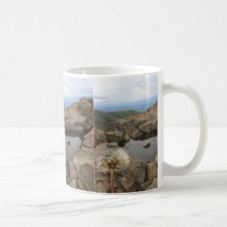 Löwenzahn über einem Teich Kaffeetasse