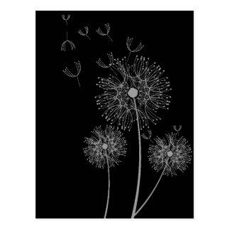 Löwenzahnmoderne Blumenschwarzweiss-kunst Postkarte
