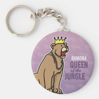 Löwin-Königin des Dschungels, addieren den Namen Standard Runder Schlüsselanhänger