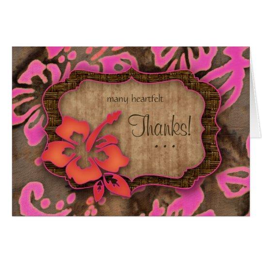 Luau Hochzeit danken Ihnen kardiert Hibiskusrosa Mitteilungskarte