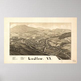 Ludlow Vermont 1885 antike panoramische Karte Poster