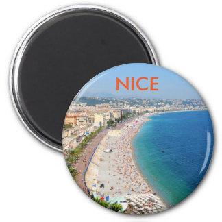Luftaufnahme des Strandes in Nizza, Frankreich Runder Magnet 5,1 Cm